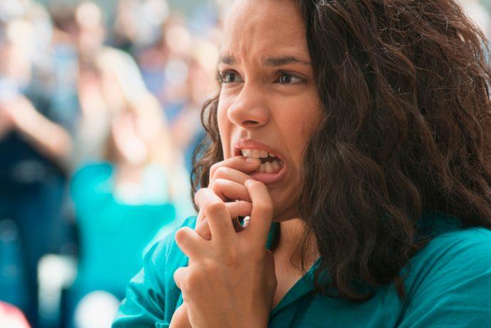 Tense female spectator