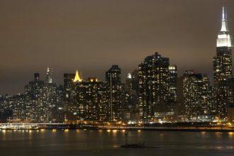 Nice landscape of Manhattan in the midnight