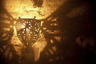 A sinister dungeon lamp in an underground torture chamber