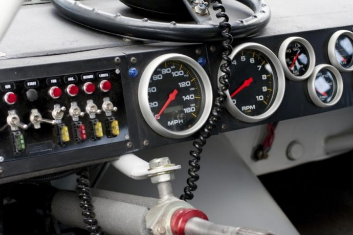 Nascar dashboard with steering wheel detached