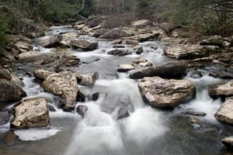 Small rappids and waterfalls on Glade Creek at Babcock State Park near New River Gorge in Fayette County, West Virginia