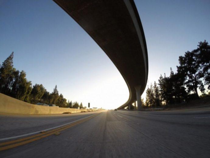 California freeway interchange ramp sunset.