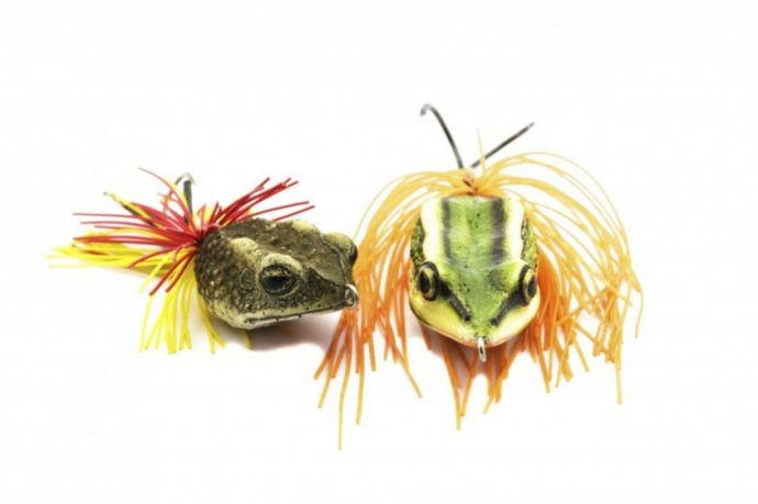 Artificial bait for fishing on white background.