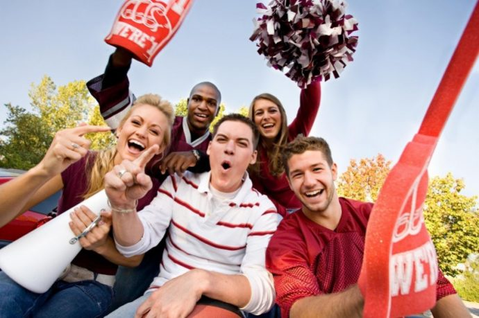 Tailgate: Group Of Fans Cheering And Yelling