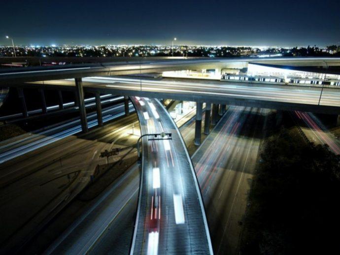 110 and 105 freeways in los angeles night bridge