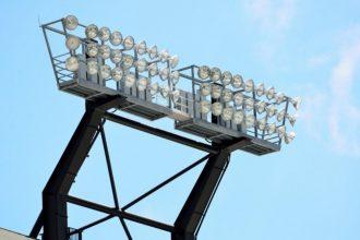 'Stadium lights at a college football field Georgia, USA.'